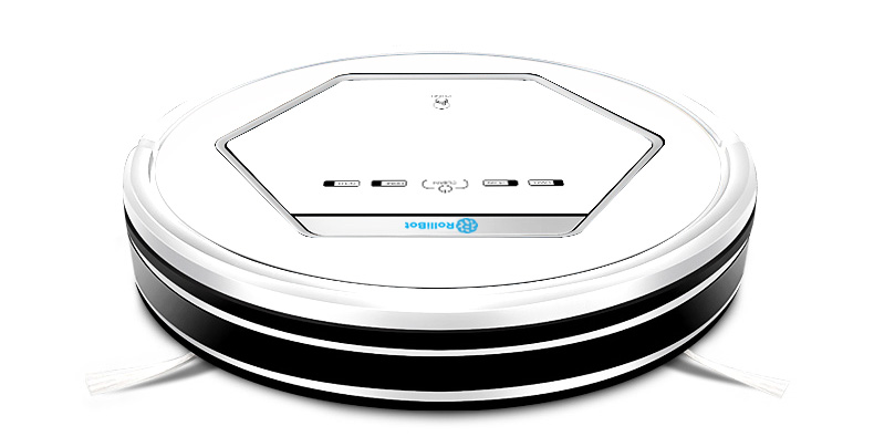 White RolliBot auto robotic vacuum cleaner with mop front view