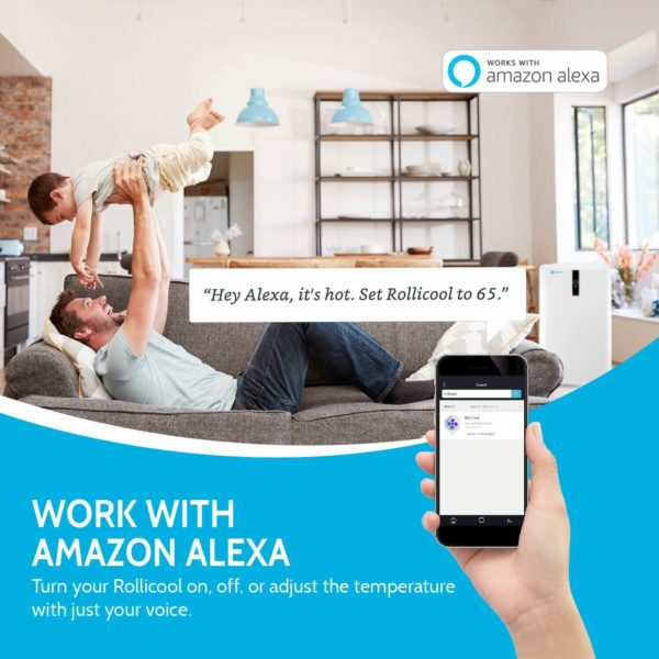 Father and son enjoy playtime at home with their Alexa controlled AC Unit by RolliCool