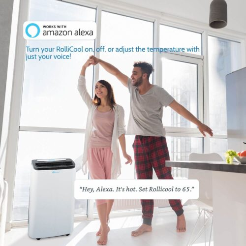 Happy couple enjoys their Alexa voice controlled portable AC unit on a hot summer day